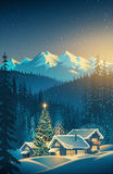 Winter festive landscape. Winter festive mountain landscape with houses and Christmas tree. Raster illustration Stock Image