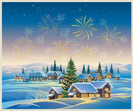 Winter festive landscape. Festive rural landscape with winter village and Christmas trees and fireworks in the sky Stock Photography