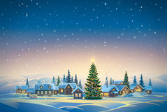 Winter festive landscape. Winter festive landscape with village and Christmas trees. Raster illustration Royalty Free Stock Photos