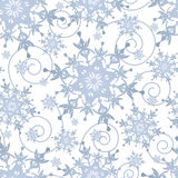 Winter festive seamless pattern with snowflakes. Beautiful winter white background seamless pattern with grey, blue ornate stylized snowflakes and swirls Stock Images