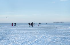 Winter festivities on the ice of the Bay stock images
