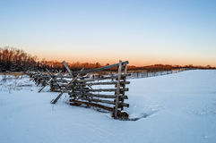 Winter Field and Fence Stock Image