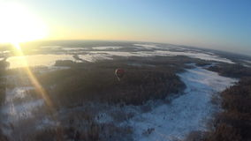 Winter field and forest aerial view stock video footage