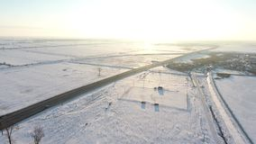 Winter field full of snow, view from drone. Aerial view over a field in the December, drone video stock video
