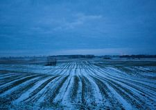 Winter. A field in Poland in Winter day Stock Photo