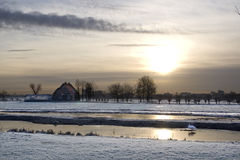 Winter field sunset. Farmfield sunset in a dutch agricultural landscape stock photo