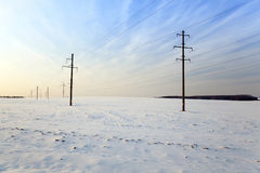 Winter field  , sunset Stock Image