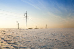 Winter field , sunset Stock Photography