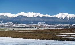 Winter fields and Peaks of Rohace mountains Royalty Free Stock Photography