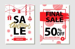 Winter Final Sale Posters Set Vector Illustration. Winter final sale on everything, 50 off for limited time only, posters set with offers dedicated to Christmas Stock Images