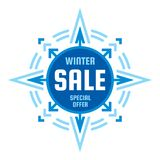 Winter final sale - vector concept banner. Special offer badge illustration. Discount promotion abstract geometric banner. Snowflake creative sign. Star with Stock Photos