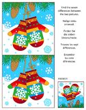 Winter find the differences picture puzzle with mittens. Winter, New Year or Christmas visual puzzle: Find the seven differences between the two pictures with Royalty Free Stock Image