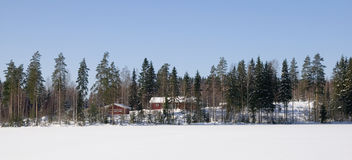 Winter in Finland. Red houses in the forest in Finland Stock Image