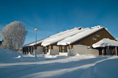 Winter. Finnish house. Royalty Free Stock Images