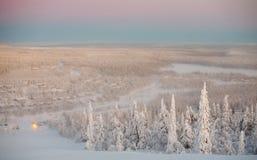 Winter-Finnland-Dorf Lizenzfreies Stockfoto