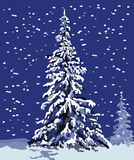 Winter fir. Snow-covered fir-tree. The drawing is easily scalable without loss of quality Stock Photo