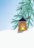 Winter fir and flashlight Royalty Free Stock Photo