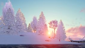 Winter fir forest and frozen lake at sunset. Winter landscape with snowy fir tree forest on shore of frozen lake at scenic sunset or sunrise. 3D illustration was Royalty Free Stock Photo
