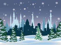 Winter fir forest near city. Illustration with winter fir forest near city Royalty Free Stock Photography