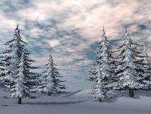Winter fir trees landscape - 3D render Royalty Free Stock Images