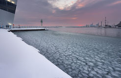 Winter fire sunset and frozen sea at the Marine station, Burgas, Bulgaria Royalty Free Stock Images