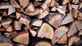 Winter fire wood. Winter cut fire wood for fire place Stock Images