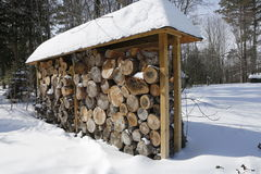 Winter and firewood Stock Photo