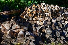 Well prepared with winter firewood. Winter firewood supply to keep you warm and cosy, stacked by size to make it easy royalty free stock photo