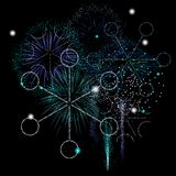 Winter fireworks. Snowflakes made of sparks in a winter fireworks display Royalty Free Stock Photo
