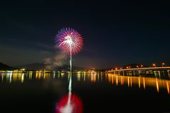 Winter Fireworks at Lake Kawaguchi Stock Images