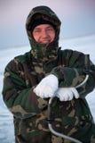 Winter fisherman Stock Photos