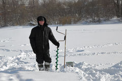 Winter fisherman Stock Photo