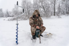 Winter fisherman Stock Photography