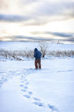 Winter fisherman walk fishing Stock Image
