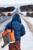 Winter fisherman walk fishing Royalty Free Stock Image