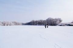 Winter fishermen on frozen lake Stock Photo