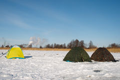Winter fishermen tents Royalty Free Stock Photos