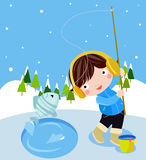 Winter fishing. Illustration Of a cute boy is winter fishing Stock Images