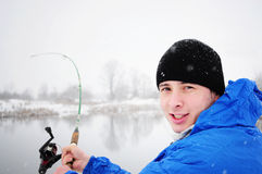 Winter fishing Stock Image
