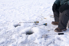 Winter fishing closeup Royalty Free Stock Photos