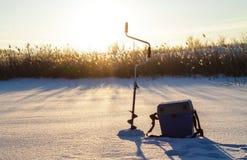 Winter fishing.  Dawn in winter Stock Photos