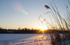 Winter fishing.  Dawn in winter Royalty Free Stock Photos