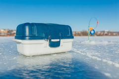 Winter fishing equipment stock images