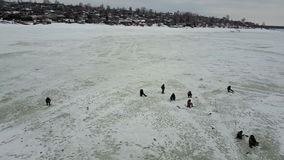 Winter fishing. Flight on quadcopter stock video footage
