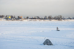Winter fishing. Royalty Free Stock Images
