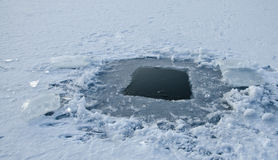 Winter fishing hole stock photography