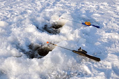 Winter fishing on ice Stock Images