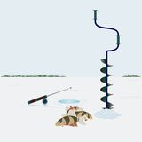 Winter fishing. Fishing in winter. Ice screws, hole in the ice and catch fish catch on ice Royalty Free Stock Image