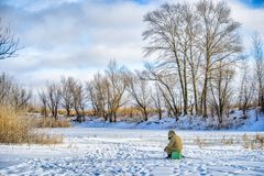 Winter fishing in January. Royalty Free Stock Photography