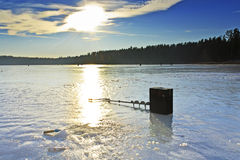Winter fishing on the lake Royalty Free Stock Image
